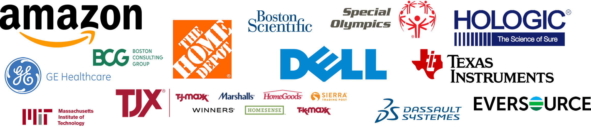 Company Logos that have run events with Half Axe; Amazon, Dell, TJX, etc.